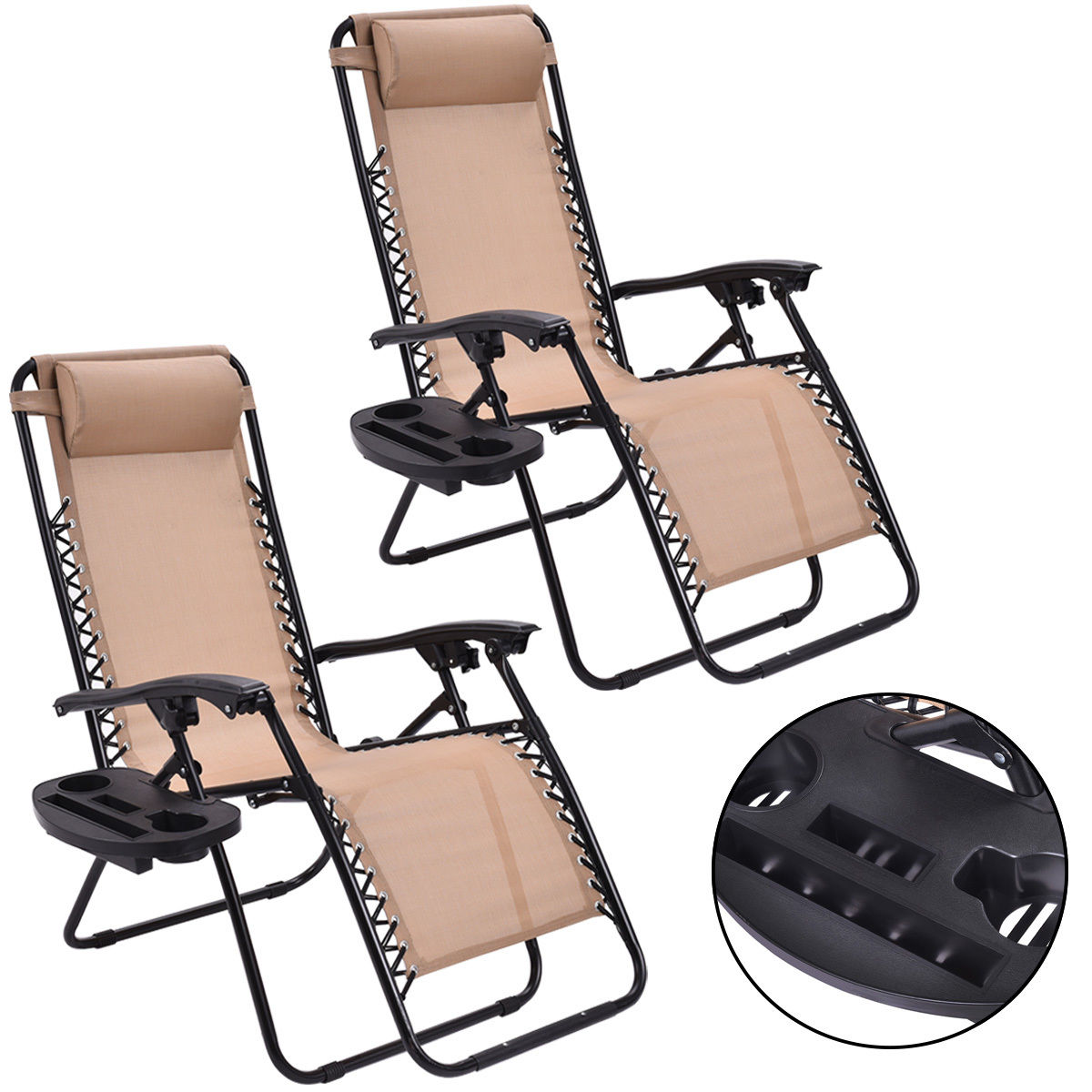 Costway 2PC Zero Gravity Chairs Lounge Patio Folding Recliner Beige W/Cup Holder