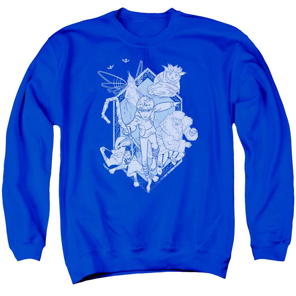 Rise Of The Guardians Animated Movie Guardians In Action Adult Crew Sweatshirt