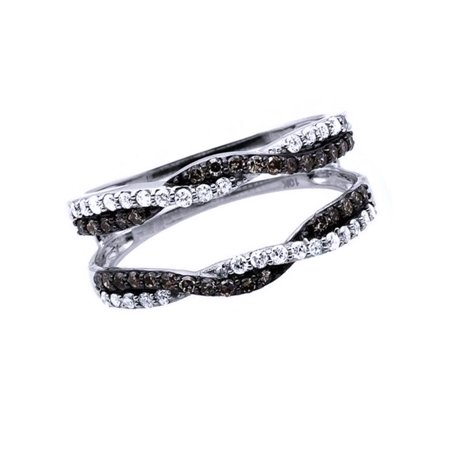Black & White Cubic Zirconia Enhancer Guard Engagement Ring In 14k White Gold Over Sterling Silver 14k White Gold Ring Guard