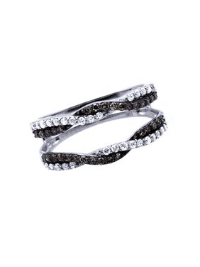 4dbb6e878 Product Image Black & White Cubic Zirconia Enhancer Guard Engagement Ring  In 14k White Gold Over Sterling Silver. Jewel Zone US