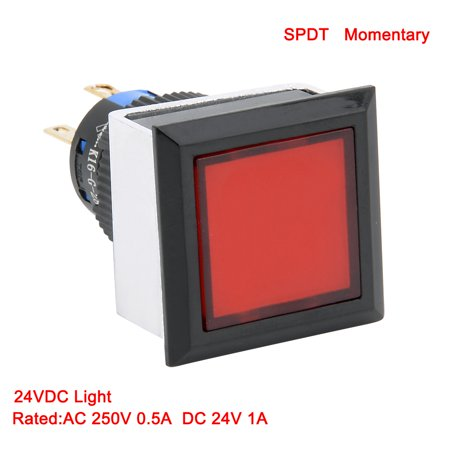2pcs Momentary Push Button Switch 16mm Mounting Dia SPDT Square w 24V Red LED - image 5 of 7
