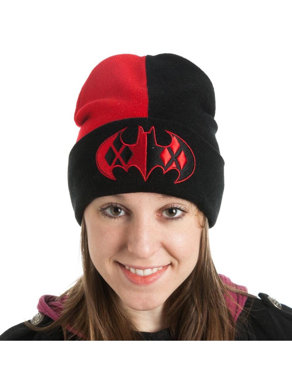2ef72827605 Batman s Classic Harley Quinn Logo Cuff Slouch Beanie Knitted ...