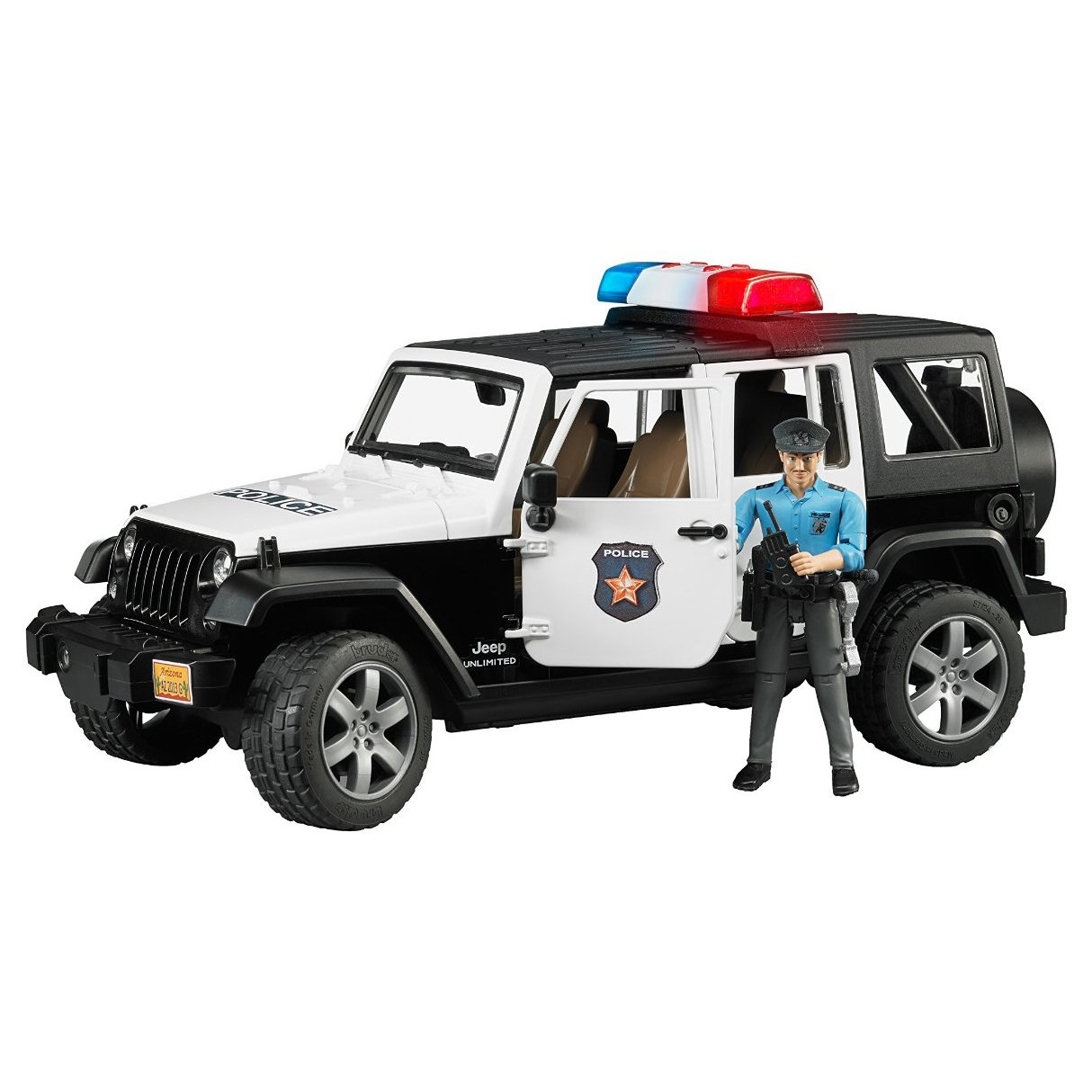 Bruder Toys Jeep Rubicon Police Car with Policeman and Accessories | 02526