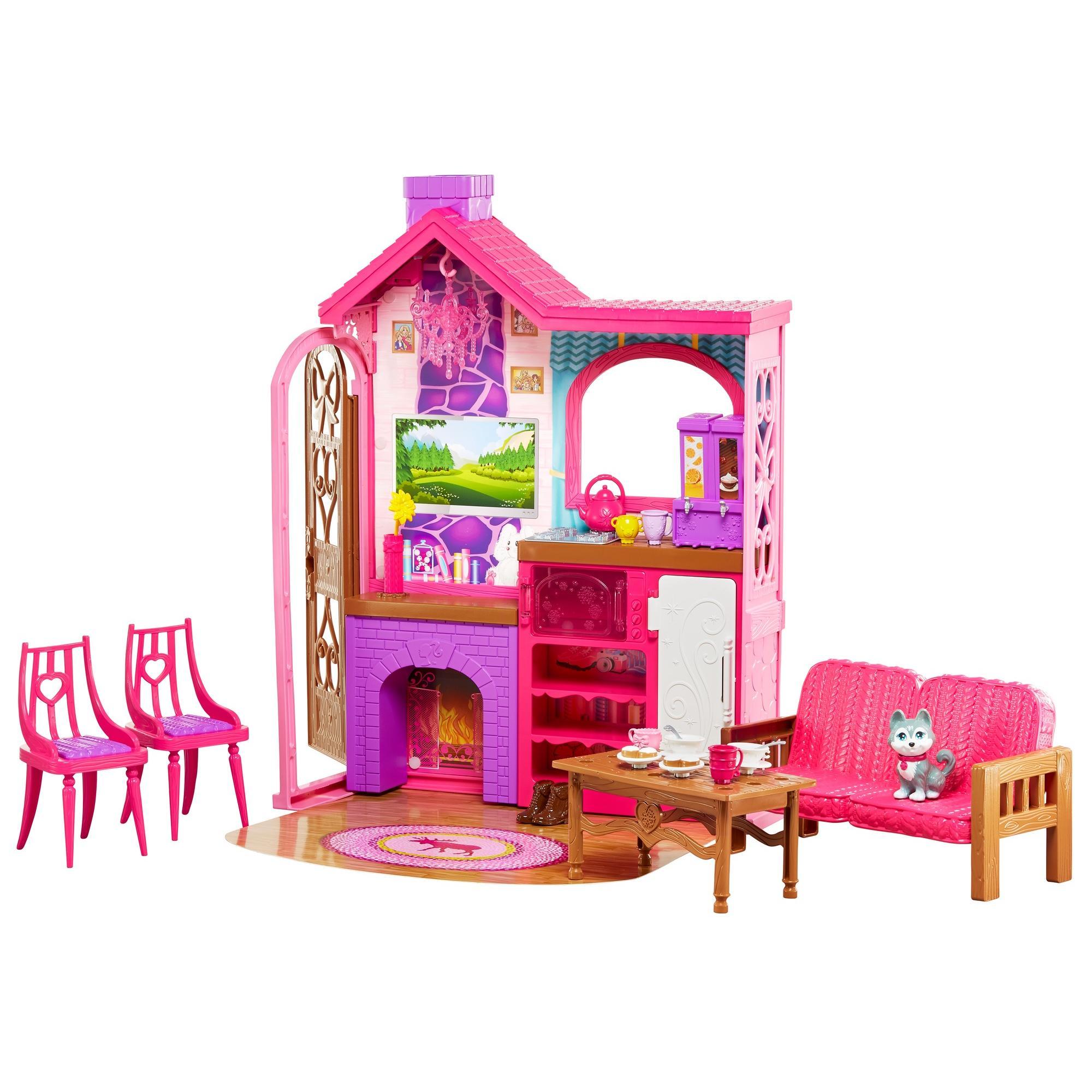 Barbie Camping Fun Playset with Barbie Cabin, Furniture, Puppy & Accessories