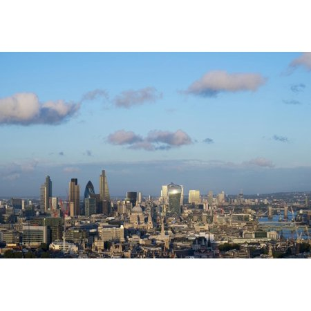 Across Center (Vew of London Skyline and River Thames from Top of Centre Point Tower across to the Shard Print Wall Art By Alex Treadway)