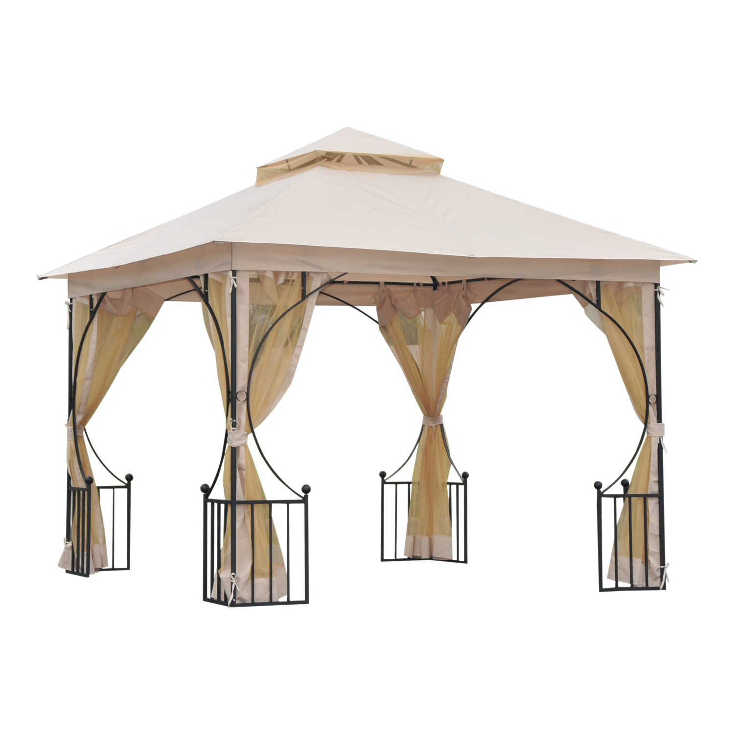 Outsunny 10 ft. 2-Tier Steel Gazebo with Mosquito Netting