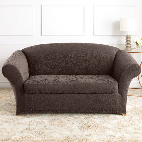 sure fit stretch jacquard damask 2piece loveseat slipcover