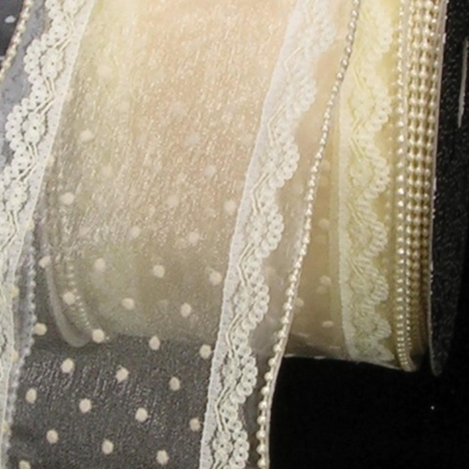 "Shimmering Pearl and Cream Sheer Dots & Lace Wired Craft Ribbon 4"" x 20 Yards"