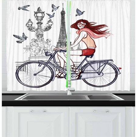 Eiffel Tower Curtains 2 Panels Set, Illustration of a Woman on Alexander III Bridge in Paris Riding a Bike, Window Drapes for Living Room Bedroom, 55W X 39L Inches, Grey Red Peach, by Ambesonne ()