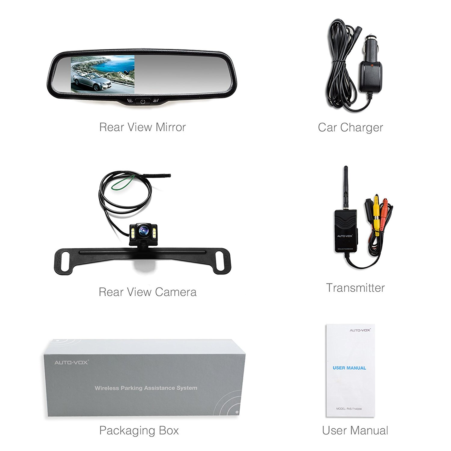 AUTOVOX 4.3 Inch Car Rear View Mirror Auto Reverse On Parking ...