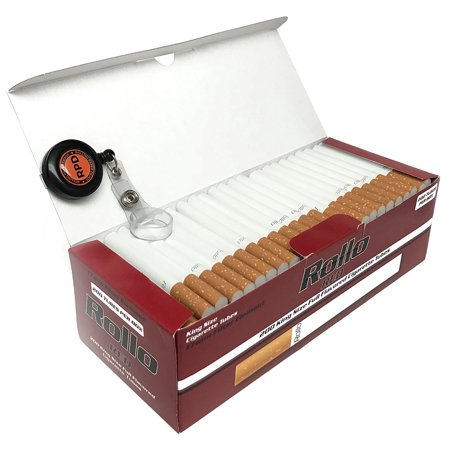 Rollo Red - King Size (84mm) White Cigarette Tubes (200 Tubes per Box) 3 Boxes with Rolling Paper Depot Lighter (Best Menthol Cigarette Tubes)