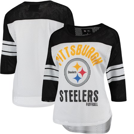 Pittsburgh Steelers G-III 4Her by Carl Banks Women's First Team Three-Quarter Sleeve Mesh T-Shirt - White/Black Dwight White Pittsburgh Steelers