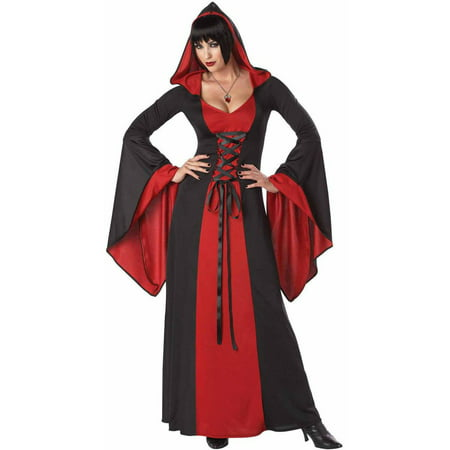 Halloween Costume Ideas Black Robe (Red and Black Deluxe Hooded Robe Men's Adult Halloween)
