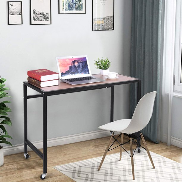 Mobile Computer Desk Portable Home Office Desk Wheels