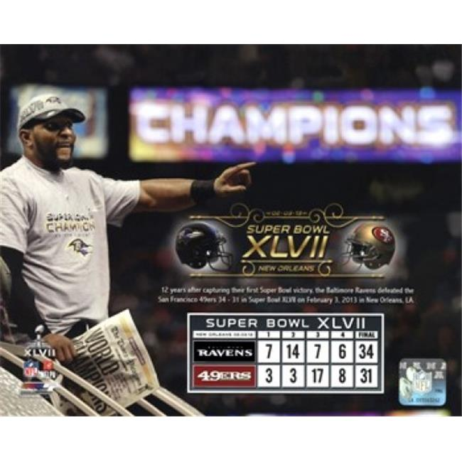 Photofile PFSAAPP16101 Ray Lewis Super Bowl XLVII Champion Overlay Sports Photo - 10 x 8