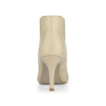 Women's Stiletto Heel Pointed Toe Chelsea Beige Booties - 6.5 M US - image 3 de 7