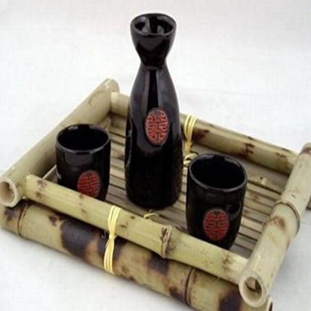 (Glazed Ceramic 3 Pcs Japanese Sake Set In Gift Box)