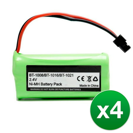 Replacement For Uniden BT1021 Cordless Phone Battery (700mAh, 2.4V, Ni-MH) - 4 Pack (Uniden Cordless Phone Replacement Battery)