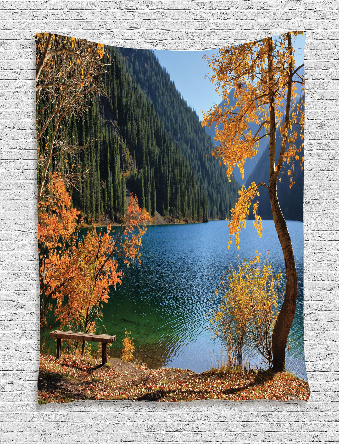 Farm House Decor Tapestry, Autumn Lake and Mountain Asian Nature Theme Fall Trees in the Wilderness, Wall Hanging for Bedroom Living Room... by Kozmos