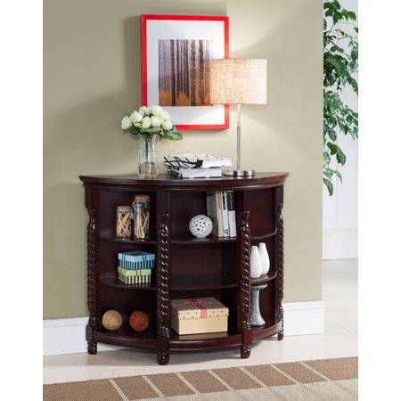 Aiden Cherry Wood Contemporary Entryway Console Sofa Buffet Table With Storage Shelves