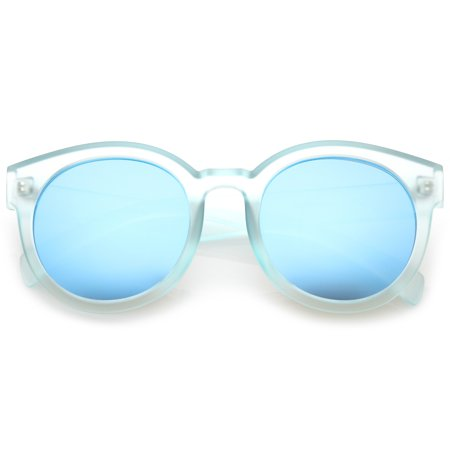 Women's Translucent Frost Horn Rimmed Mirrored Flat Lens Round Sunglasses 54mm (Blue / Blue (Translucent Round Sunglasses)