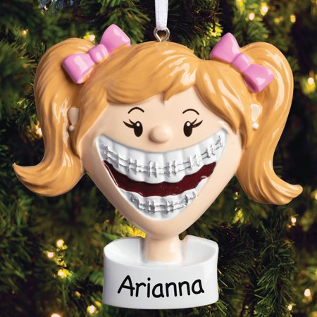 Personalized Brace Face Girl Ornament ()