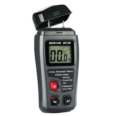 Digital Moisture Meter 2 Pins Sensor Water Leak Detector with Digital LCD Display Range 0% to 99.9% for