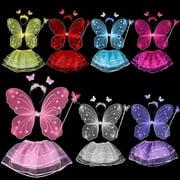 Girls Butterfly Fairy Angel Wings Wand Boppers Set Party Fancy Dress(Yellow)