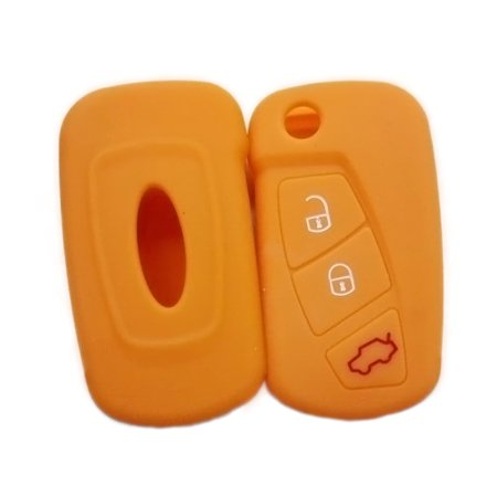 Soft Silicone Car Remote Key Fob Cover Case Protector for Ford 3 Button -  Orange