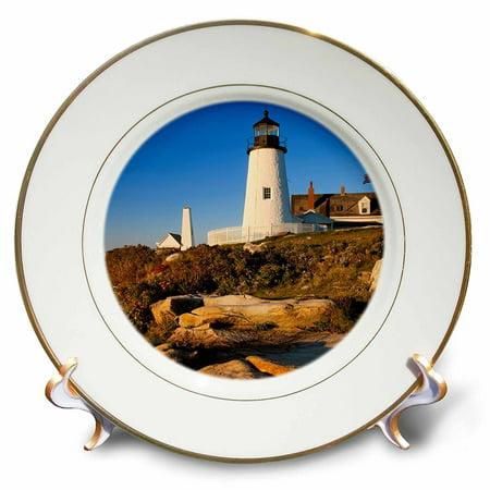 3dRose Pemaquid Point Lighthouse, Bristol, Maine, USA - US20 BJN0049 - Brian Jannsen, Porcelain Plate, 8-inch