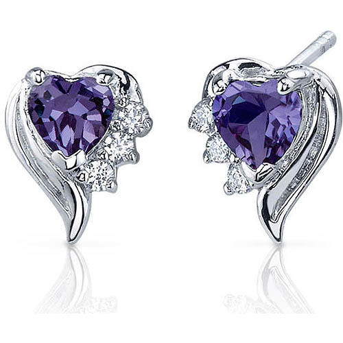 Oravo 1.50 Carat T.G.W. Heart-Shape Simulated Alexandrite CZ Rhodium over Sterling Silver Stud Earrings