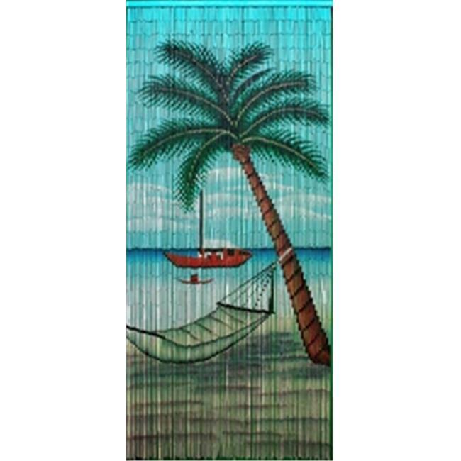 Bamboo 57 5285 Hammock beach scene curtain by Bamboo 57