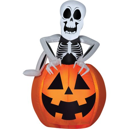 Pop-Up Skeleton Pumpkin Airblown Halloween Decoration (Skeleton Band Halloween Decoration)