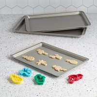 Tasty Non-Stick Cookie Sheet Baking Pan Set, 3 Piece, with 4 Cookie Cutters