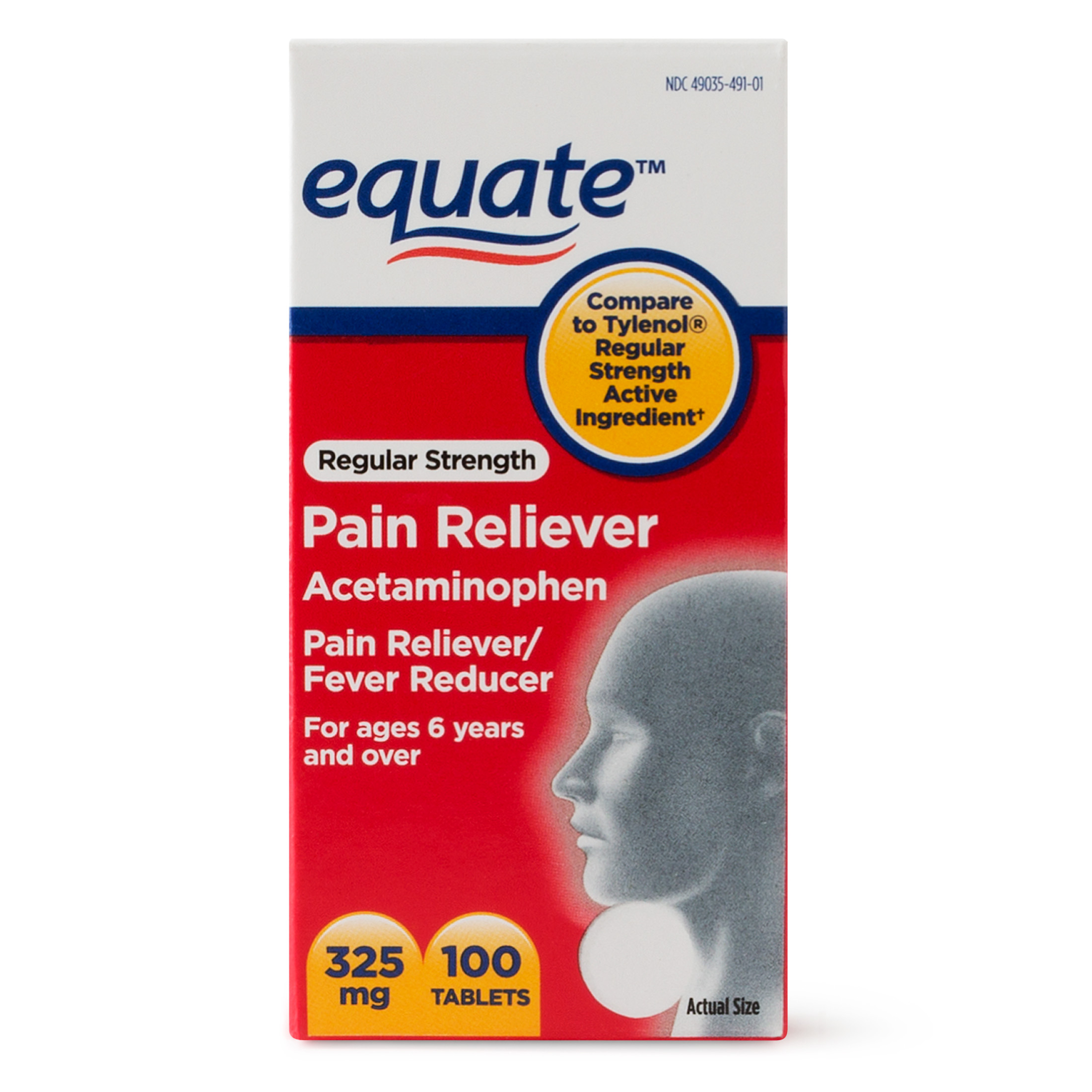 Equate Regular Strength Pain Relief Acetaminophen Tablets, 325 mg, 100 Ct
