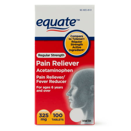 (4 Pack) Equate Regular Strength Pain Relief Acetaminophen Tablets, 325 mg, 100 Ct