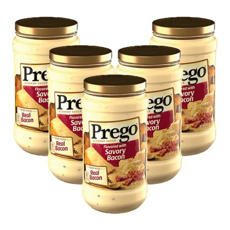 (5 Pack) Prego Flavored with Savory Bacon Alfredo Sauce, 14.5 oz.