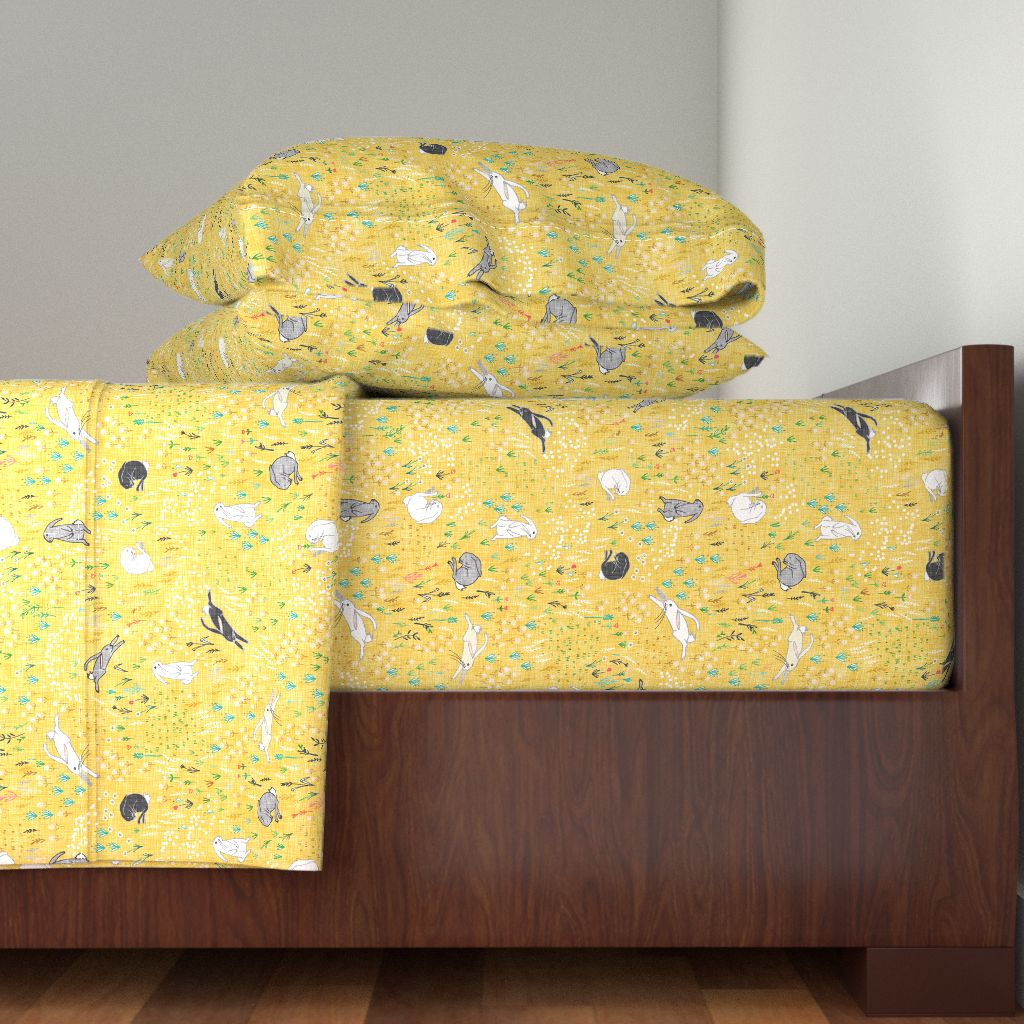 Rabbit Bunny Wildflower Flowers Yellow 100% Cotton Sateen Sheet Set by Roostery