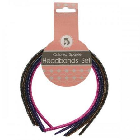 Bulk Buys KL20796 Colored Sparkle Headbands Set - Assorted, 5 Piece - Plastic Headbands In Bulk
