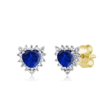 (18K Two Tone Gold 1.00Ct Heart 4mm Blue Simulated Sapphire Diamond Stud Earrings)