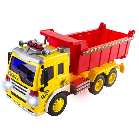 Move Vehicle - Friction Powered Construction Dump Truck With Lights Sound And Working Headlights Kids Toy Vehicle Moves Around Changes Directions On Contact Includes Batteries