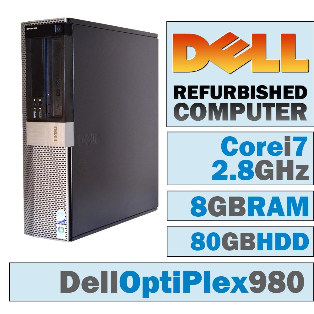 REFURBISHED Dell OptiPlex 980 DT/Core i7-860 @ 2.80 GHz/8GB DDR3/80GB HDD/DVD-RW/WINDOWS 7 PRO 64 BIT