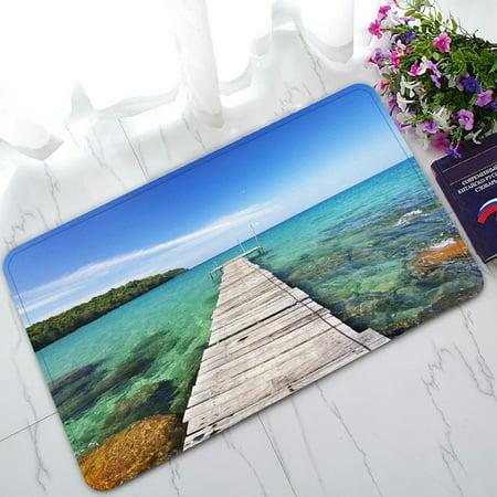 PHFZK Tropical Seascape Doormat, Nautical Ocean Wooden Dock Bridge to Water Waves in Summer Doormat Outdoors/Indoor Doormat Home Floor Mats Rugs Size 30x18 (Nautical Tropical Rug)