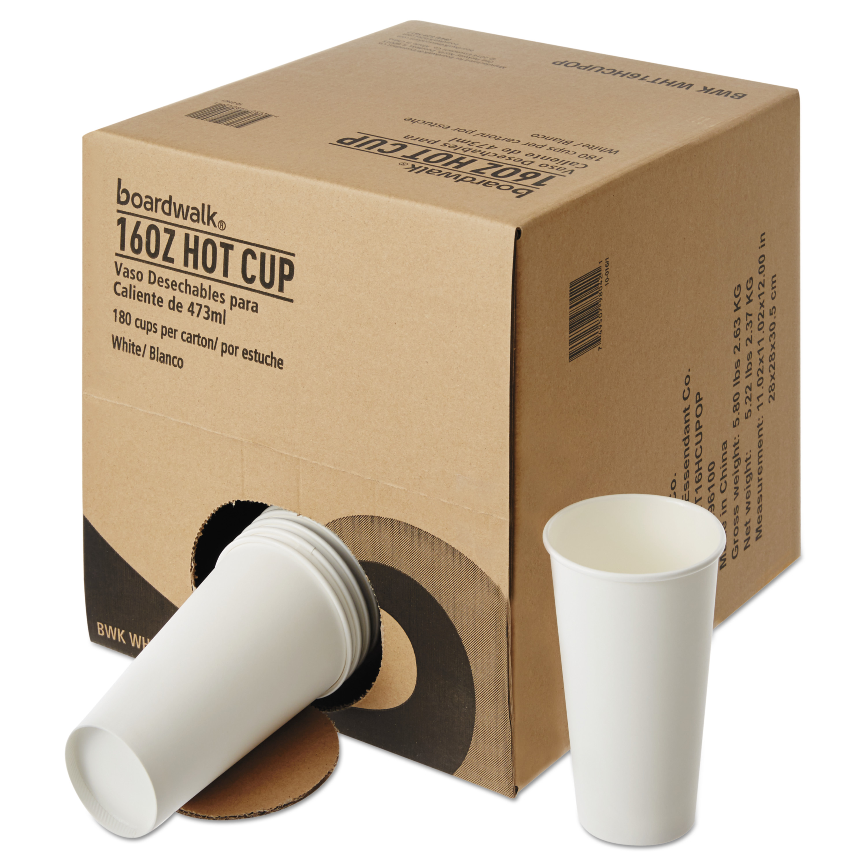 Boardwalk Convenience Pack Paper Hot Cups, 16 oz, White, 180/Carton -BWKWHT16HCUPOP