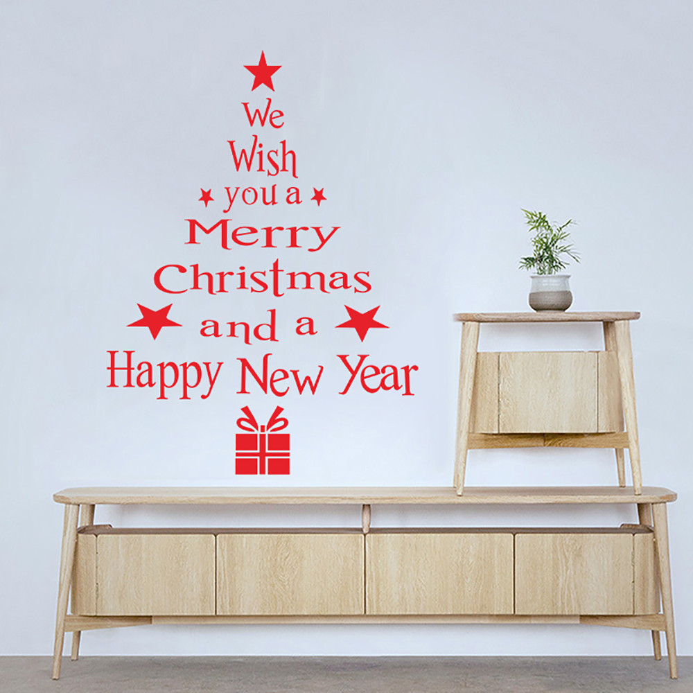Christmas Tree Letters Stick Wall Art Decal Mural Home Room Decor Wall Sticker