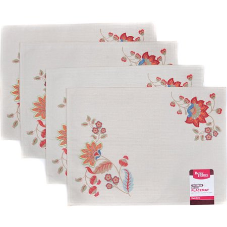 Better Homes And Gardens Floral Embridored Placemat Set Of 4