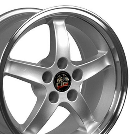 17x9 Fits Ford® Mustang® - Cobra R Style Deep Dish Silver with Machined Lip Rims - SET Machined Lip Set