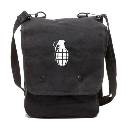Hand Grenade Canvas Crossbody Travel Map Bag Case