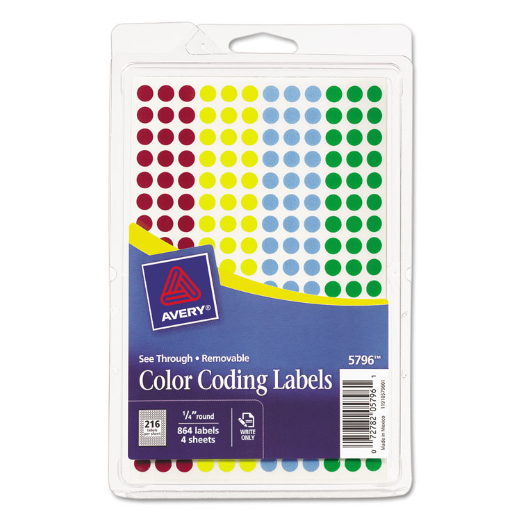 "Avery See-Through Removable Color Dots, 1/4"" diameter, Assorted Colors, 864 Pack"