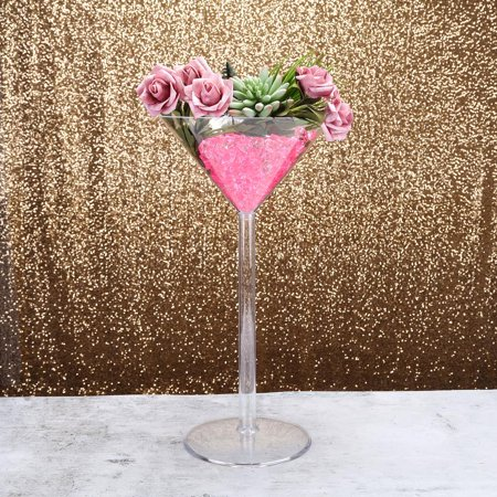 "4 Pack Plastic Martini Glass Vase Table Centerpiece With Fillable Stem, 18"" Tall - Table Centerpieces With Lights"